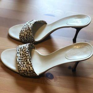 Authentic Gucci Cream Silk Slip On Heels Sandals